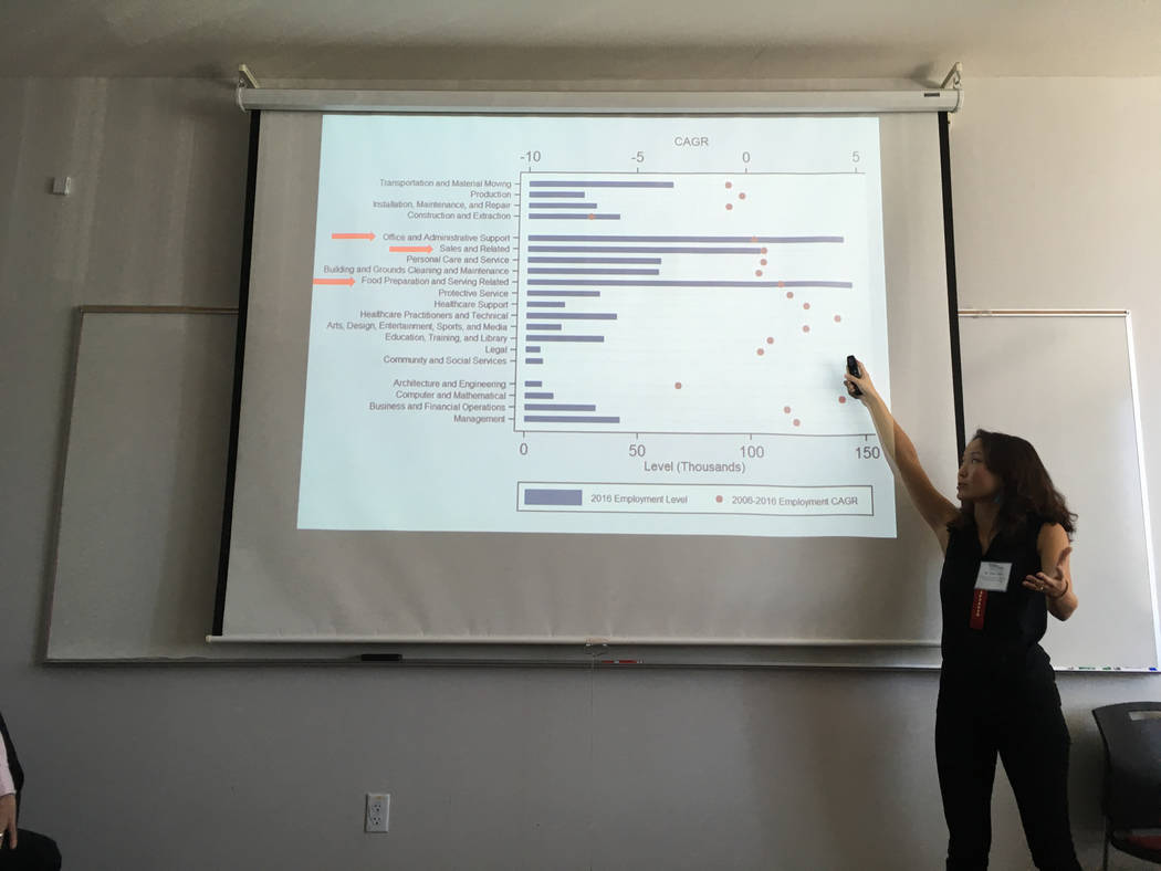 Jess Chen, a research fellow at the University of Redlands' Institute for Spatial Economic Analysis, presents to an audience of about 50 Nevada business leaders Tuesday, Sept. 12, 2017, about the  ...