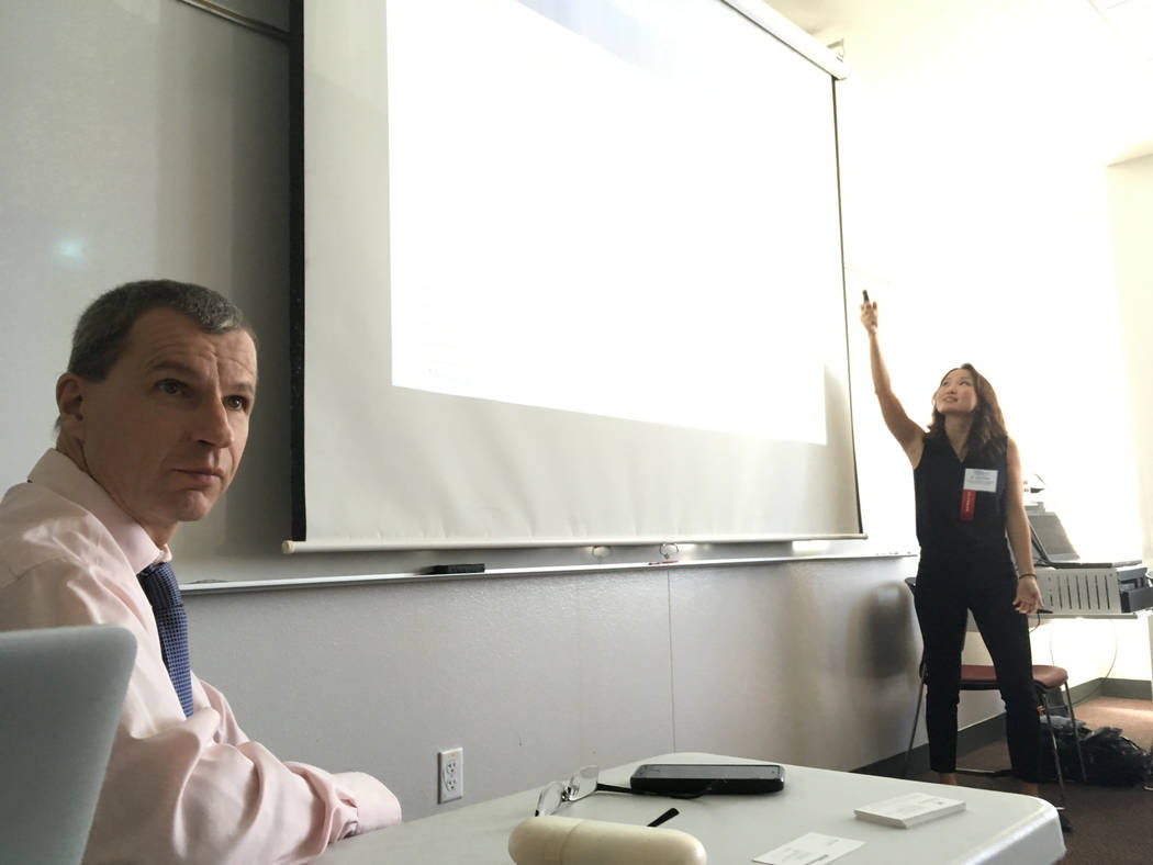 Johannes Moenius (left), a professor at University of Redlands and founding director of the university's Institute for Spatial Economic Analysis, and Jess Chen, a research fellow at the institute, ...