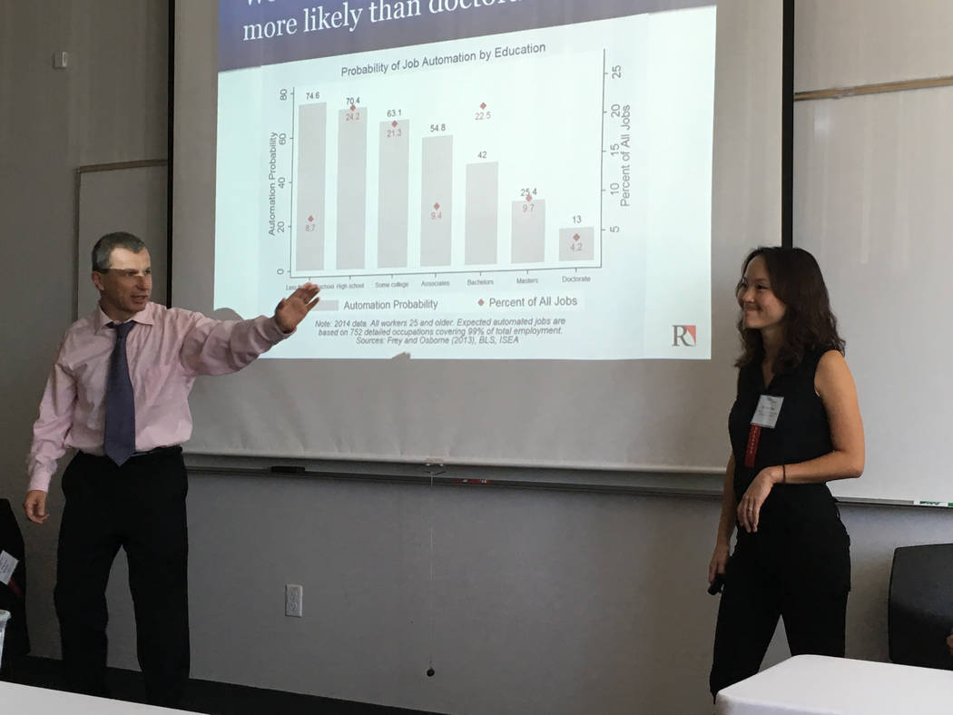 Johannes Moenius, left, a professor at University of Redlands and founding director of the university's Institute for Spatial Economic Analysis, and Jess Chen, a research fellow at the institute,  ...