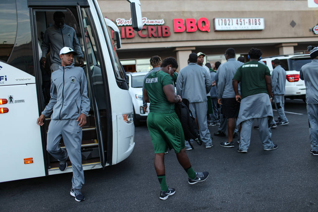 Miami Central's Maurice Underwood steps off a bus with his football team before a dinner at TC's Rib Crib in Las Vegas, Monday, Sept. 11, 2017. Joel Angel Juarez Las Vegas Review-Journal @jajuarez ...