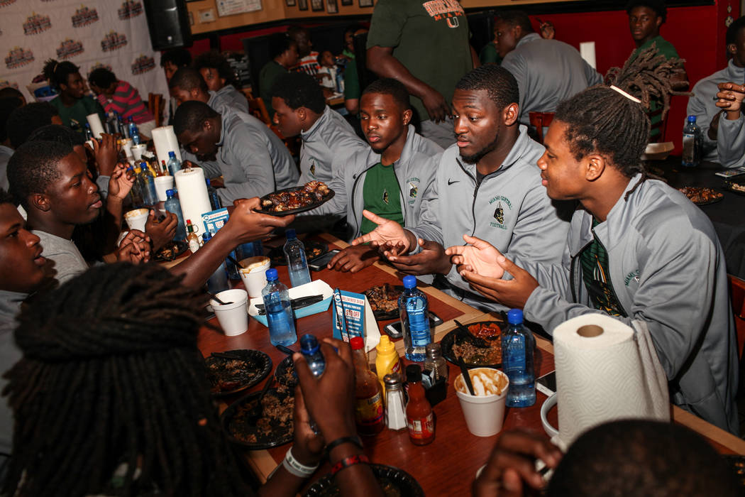 Miami Central's football team eats dinner at TC's Rib Crib in Las Vegas, Monday, Sept. 11, 2017. (Joel Angel/Juarez Las Vegas Review-Journal) @jajuarezphoto