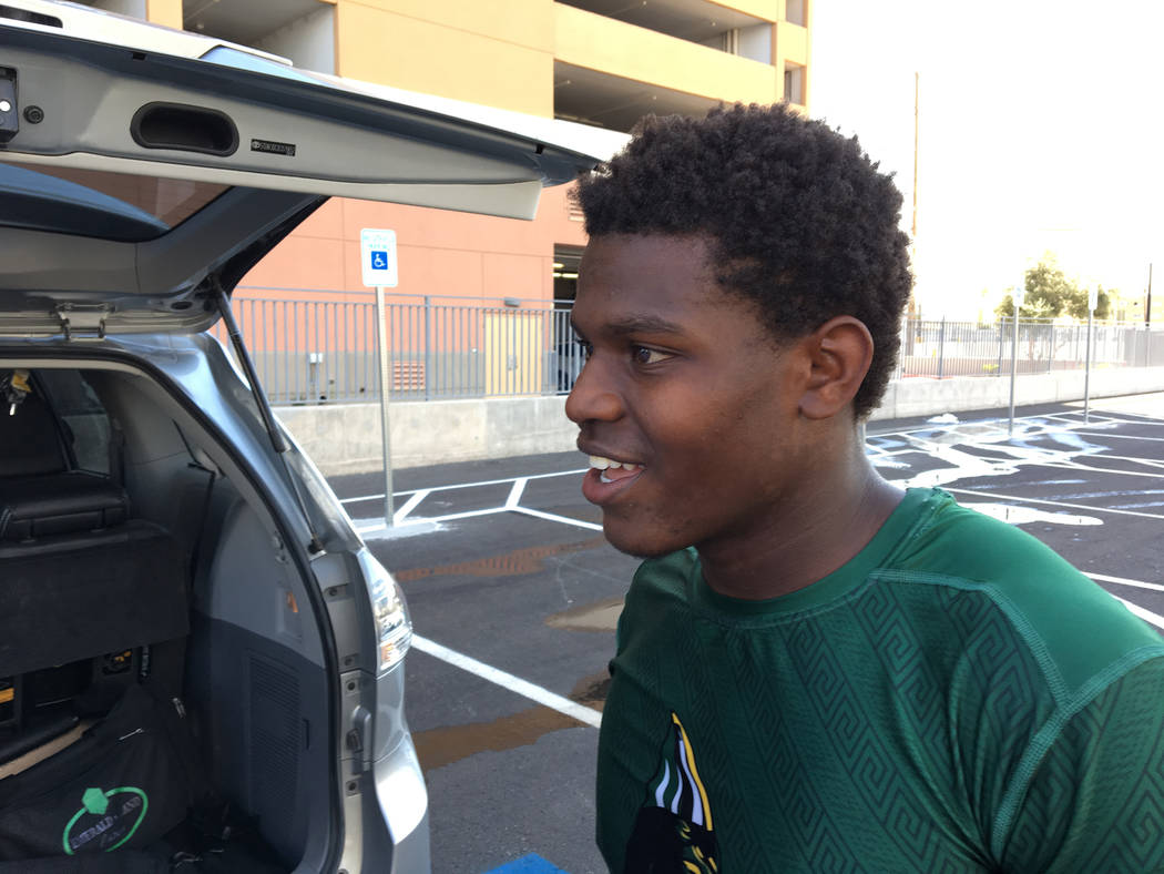 Alex Mattison, fullback for the Miami Central High School football team, was stranded in Las Vegas on Monday, Sept. 11, 2017 with his team mates after Hurricane Irma struck Florida. Michael Quine  ...