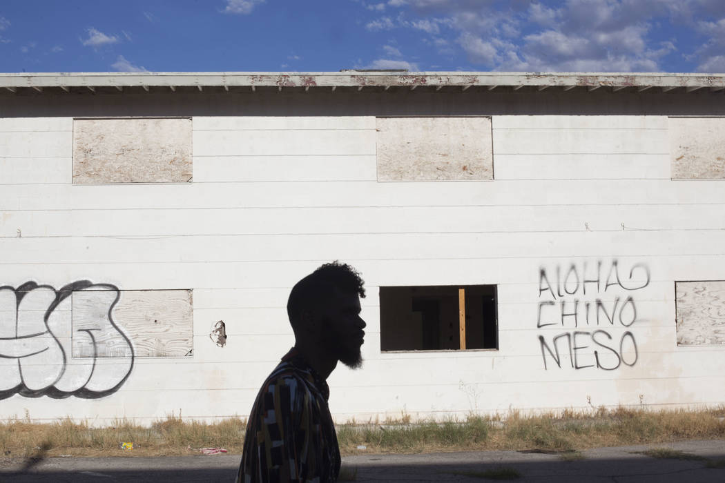 Deverynn Bryant wanders through the Moulin Rouge site in Las Vegas, Tuesday, Sept. 12, 2017. He is a part of Harrison House, a non-profit that wants to restore the Moulin Rouge, the first integrat ...