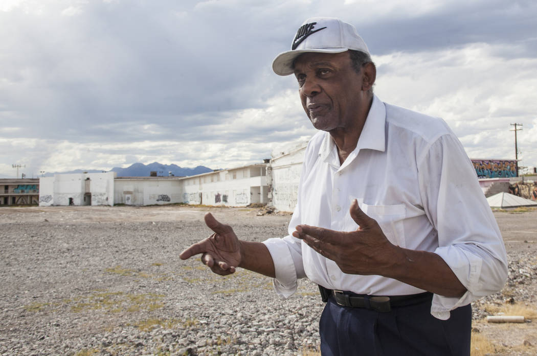 Former Assemblyman Harvey Munford speaks to the Review-Journal at the Moulin Rouge property in Las Vegas, Wednesday, Sept. 13, 2017. The city is in the process of trying to get some of the structu ...