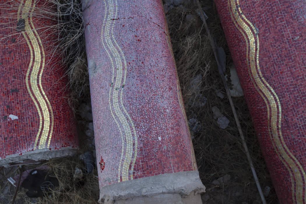 Original pillars on the ground at the Moulin Rouge property in Las Vegas, Thursday, Sept. 14, 2017. Rachel Aston Las Vegas Review-Journal @rookie__rae