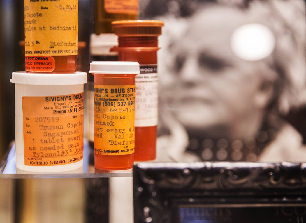 Prescription pill bottles found at the scene of Truman Capote's death on display at Zak Bagans' Haunted Museum on Monday, September 11, 2017, in Las Vegas. Benjamin Hager Las Vegas Review-Journal  ...