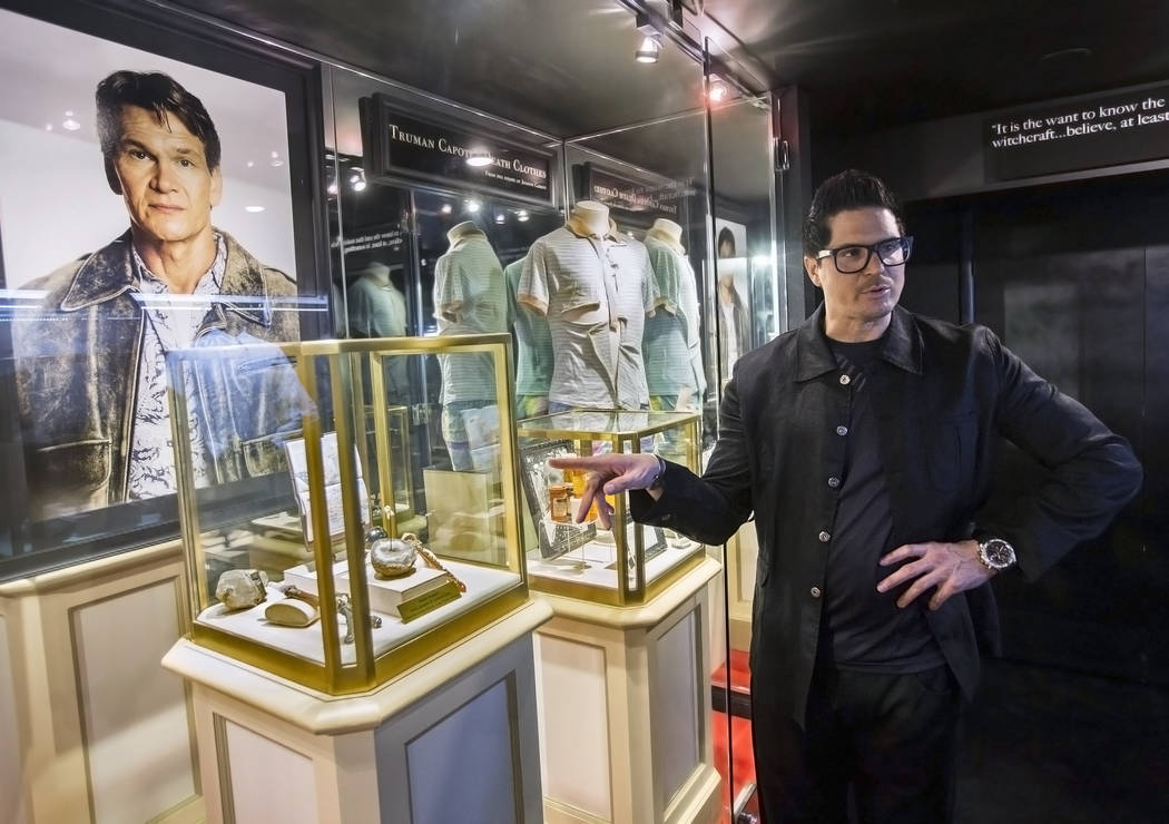 "Zak Bagans, right, host of Travel Channel's ""Ghost Adventures,"" discusses items he acquired from Patrick Swayze's estate on Monday, September 11, 2017, at Zak Bagans' Haunted Mus ..."