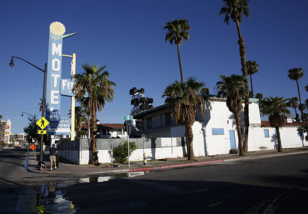 A boarded up Motel Fergusons on 1028 Fremont St., in downtown Las Vegas on Tuesday, Sept. 12, 2017. Bizuayehu Tesfaye Las Vegas Review-Journal @bizutesfaye