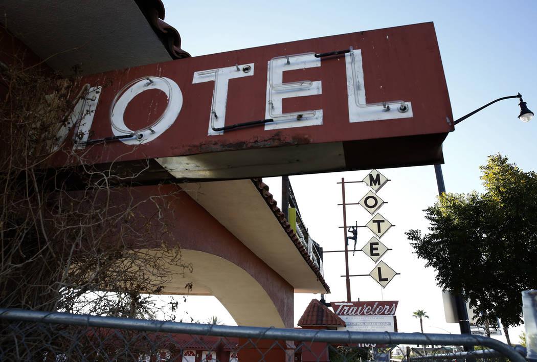 Travelers Motel on 1100 Fremont St., in downtown Las Vegas on Tuesday, Sept. 12, 2017. Bizuayehu Tesfaye Las Vegas Review-Journal @bizutesfaye