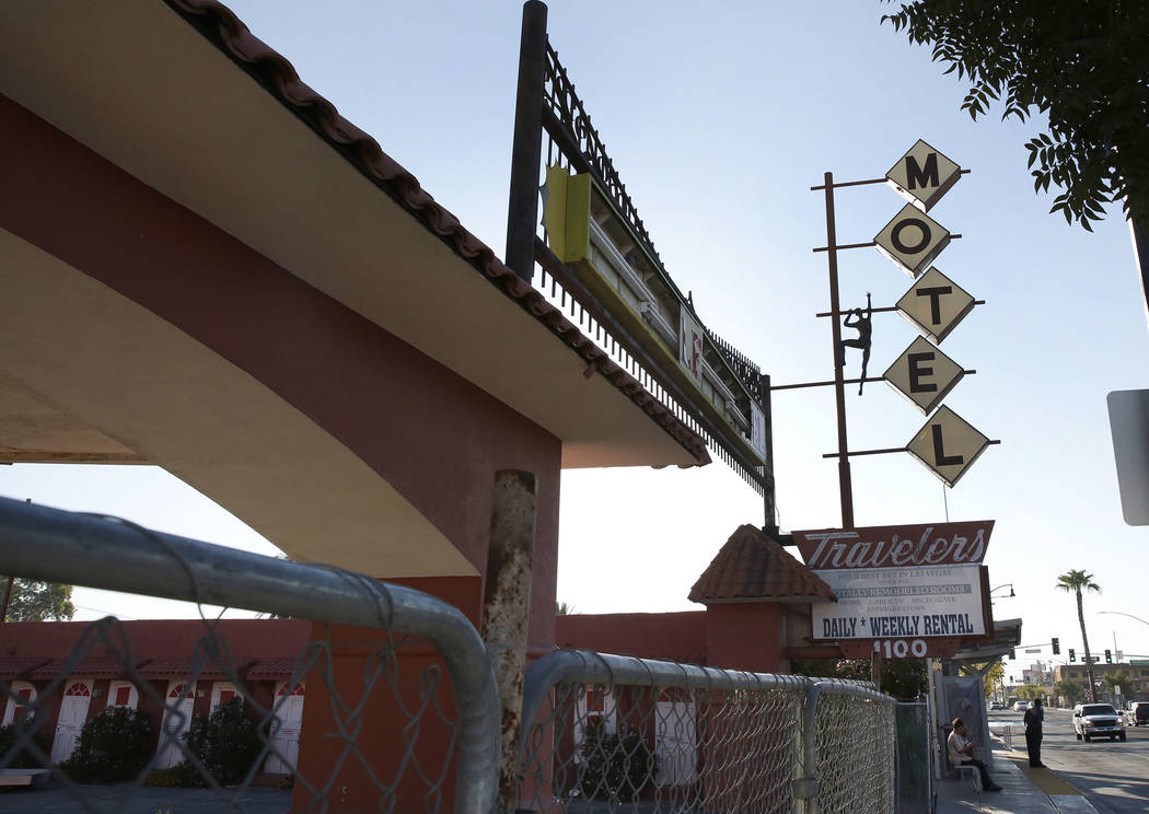 A boarded up Travelers Motel on 1100 Fremont St., in downtown Las Vegas on Tuesday, Sept. 12, 2017. Bizuayehu Tesfaye Las Vegas Review-Journal @bizutesfaye
