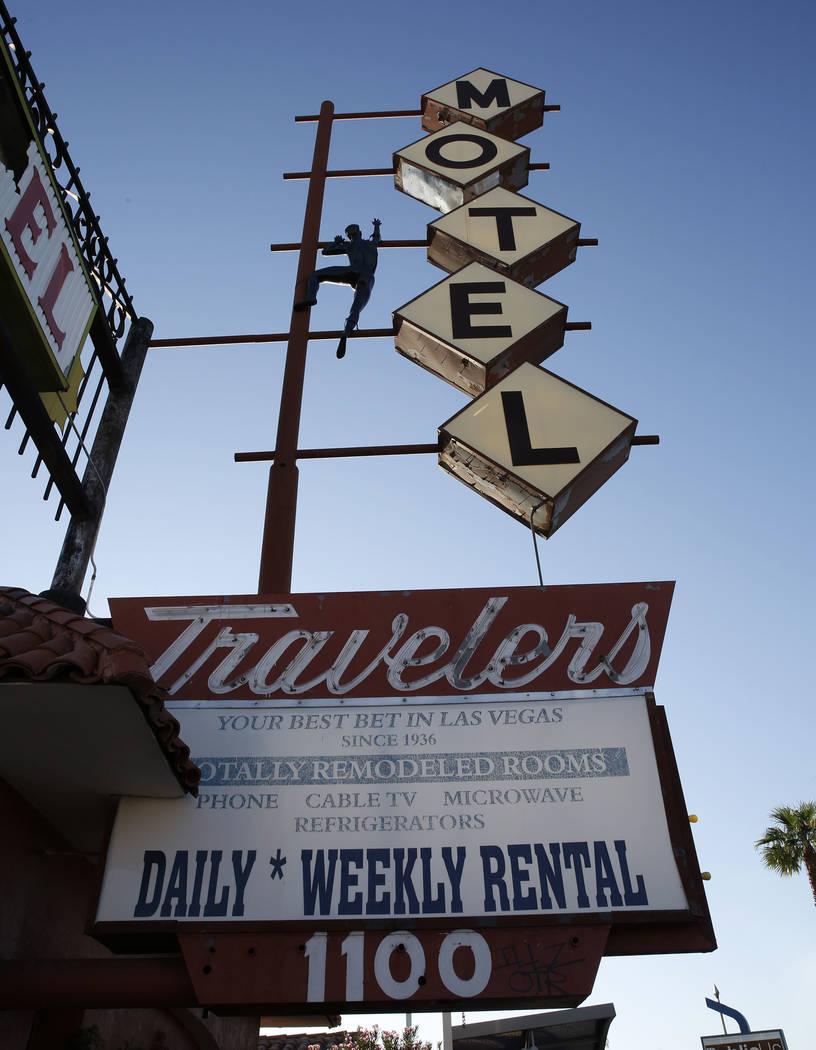 Travelers Motel on 1100 Fremont St., in downtown Las Vegas on Tuesday, Sept. 12, 2017, in Las Vegas. Bizuayehu Tesfaye Las Vegas Review-Journal @bizutesfaye