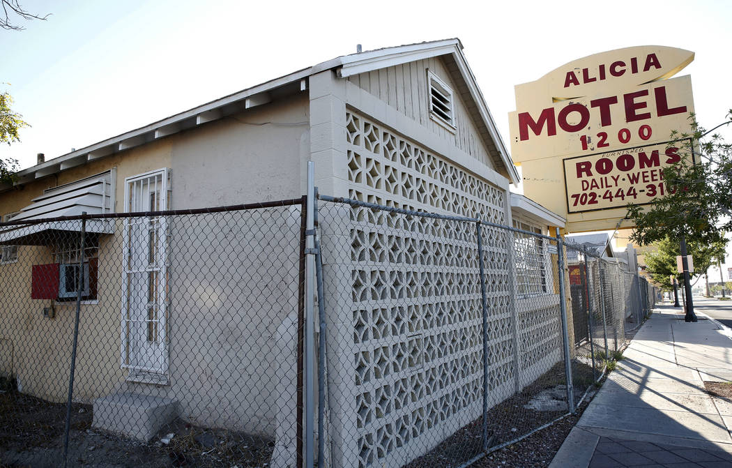 A boarded up Alicia Motel on 1216 Fremont St., in downtown Las Vegas on Tuesday, Sept. 12, 2017. Bizuayehu Tesfaye Las Vegas Review-Journal @bizutesfaye