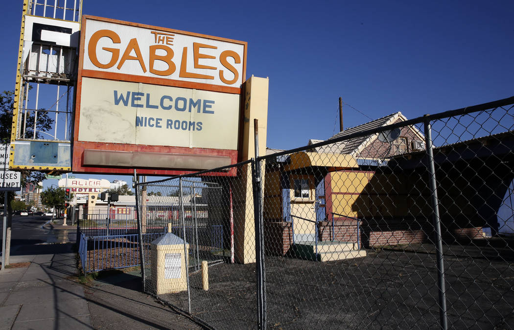 A boarded up The Gables Motel on 1301 Fremont St., in downtown Las Vegas on Tuesday, Sept. 12, 2017. Bizuayehu Tesfaye Las Vegas Review-Journal @bizutesfaye