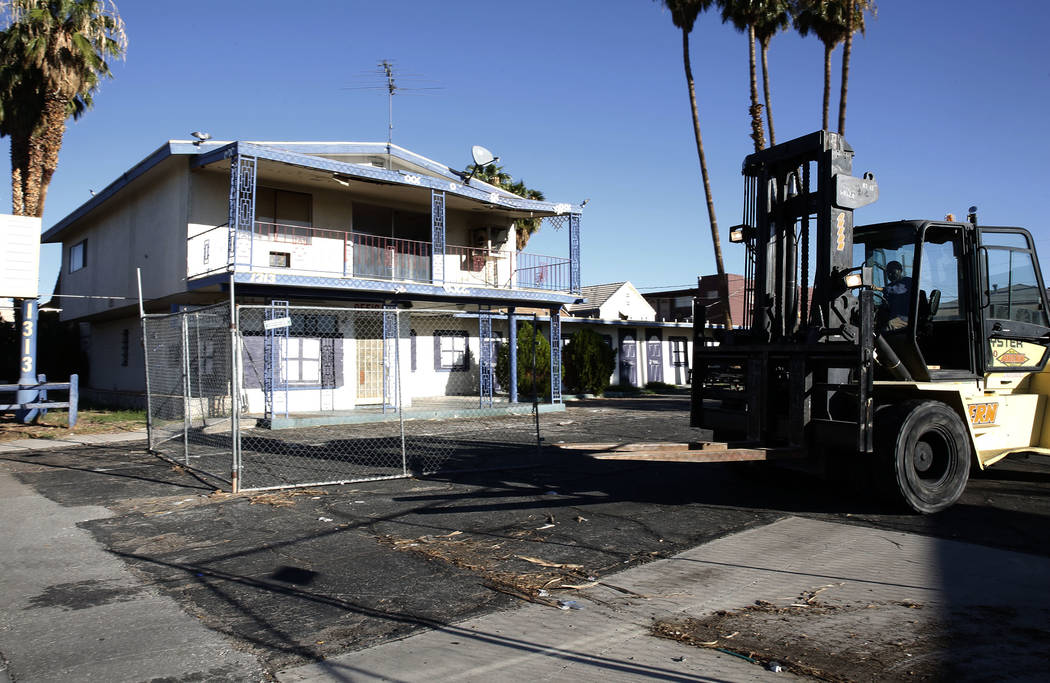A boarded up Valley Motel on 1313 Fremont St., in downtown Las Vegas on Tuesday, Sept. 12, 2017. Bizuayehu Tesfaye Las Vegas Review-Journal @bizutesfaye