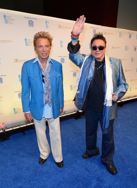 Siegfried and Roy walk the blue carpet Friday at the One Drop fundraiser at Mandalay Bay. (Courtesy/Bryan Steffy/WireImage)