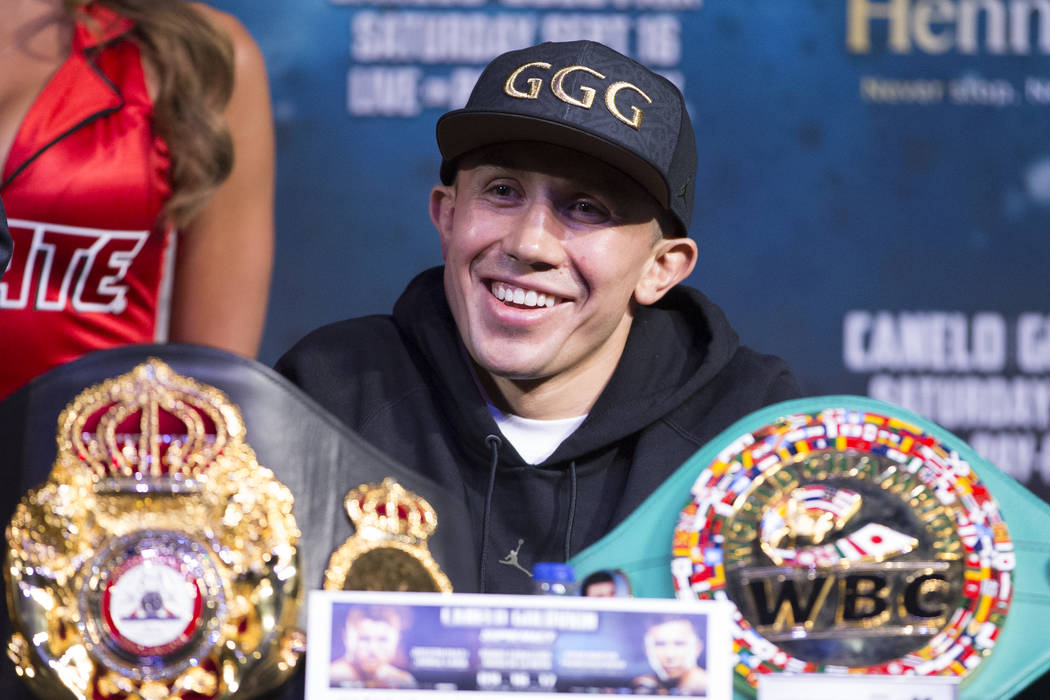 "Gennady Golovkin during the final press conference before his boxing fight, at MGM Grand hotel-casino in Las Vegas, Wednesday, Sept. 13, 2017. Golovkin is scheduled to fight Saul ""Canelo& ..."