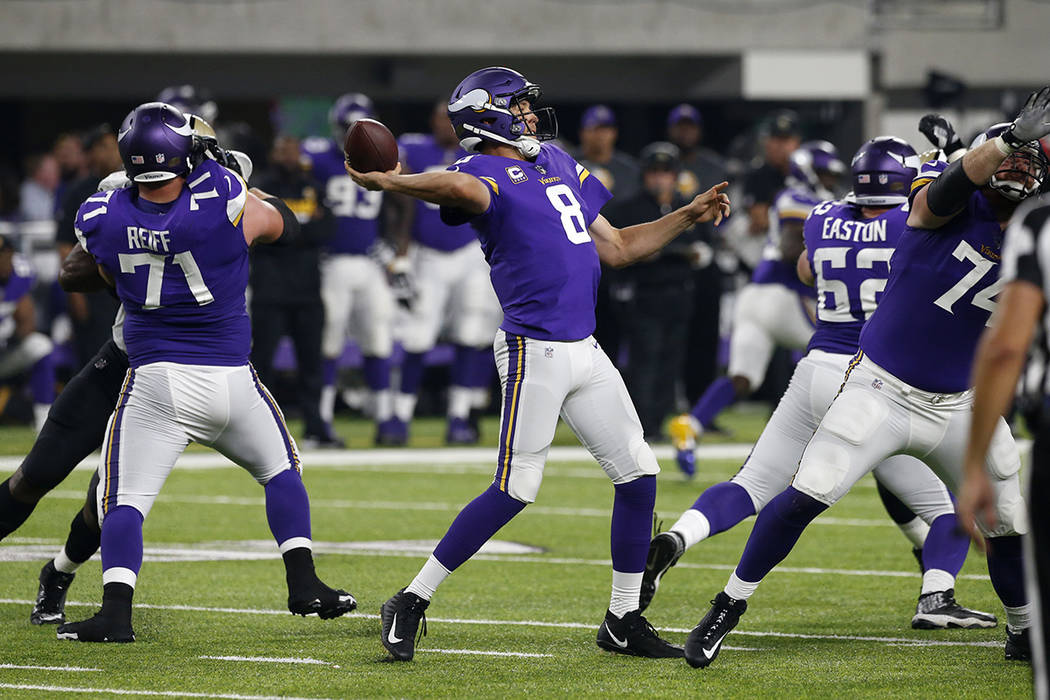 Minnesota Vikings quarterback Sam Bradford throws a pass during the second half of an NFL football game against the New Orleans Saints, Monday, Sept. 11, 2017, in Minneapolis. (AP Photo/Jim Mone)