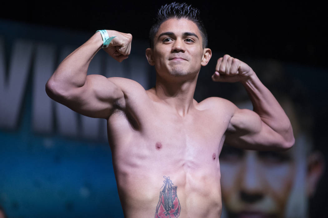Joseph Diaz Jr. during a weigh-in event at MGM Grand Garden Arena in Las Vegas, Friday, Sept. 15, 2017. Diaz is scheduled to fight Rafael Rivera on September 16 at T-Mobile Arena. Erik Verduzco La ...