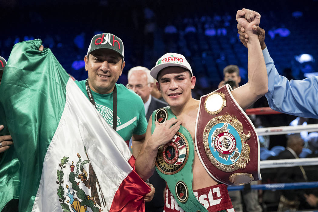 Diego De La Hoya celbrates his unanimous win against Randy Caballero in the super bantamweight bout at T-Mobile Arena in Las Vegas, Saturday, Sept. 16, 2017. Erik Verduzco Las Vegas Review-Journal ...