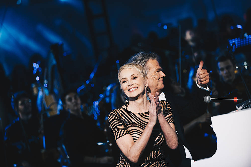 Actress Sharon Stone and David Foster at the seven-day trip to Rome for well-heeled donors of our Keep Memory Alive charity event. (Courtesy)