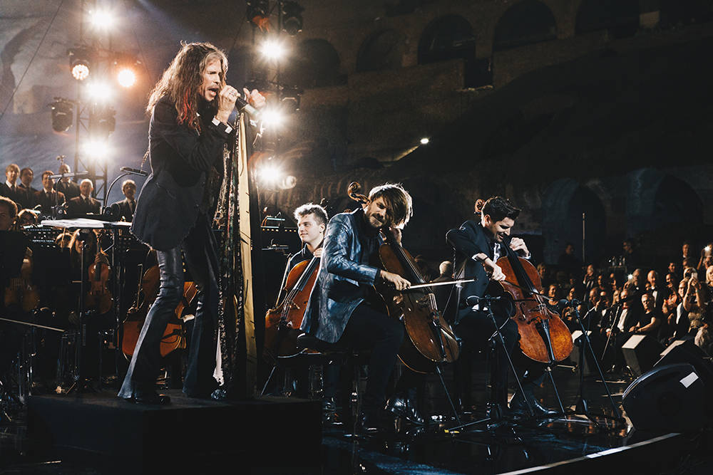 The last night of the seven-day trip to Rome for the Keep Memory Alive charity event featured a performance from Steven Tyler. (Courtesy)