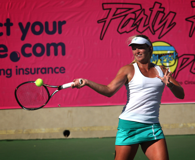 CoCo Vandeweghe, pictured, faces off against Melanie Oudin in the finals of the Party Rock Open tennis tournament at Darling Tennis Center in Las Vegas Sunday, Sep. 29, 2013. Oudin defeated Vandew ...