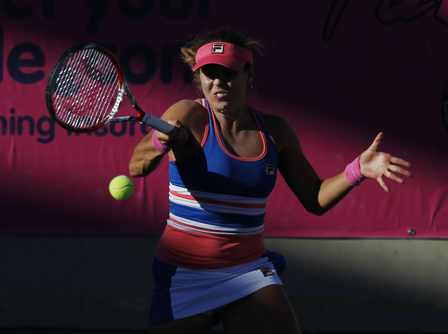 Anna Tatishvili returns a shot against CoCo Vandeweghe during their semi-final match of the Party Rock Open at the Darling Tennis Center in Las Vegas on Sept. 28, 2013. (Jason Bean/Las Vegas Revie ...