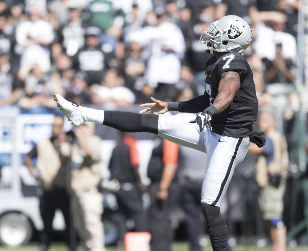 Oakland Raiders punter Marquette King (7) punts the football in the first half of their game against the New York Jets in Oakland, Calif., Sunday, Sept. 17, 2017. Heidi Fang Las Vegas Review-Journ ...