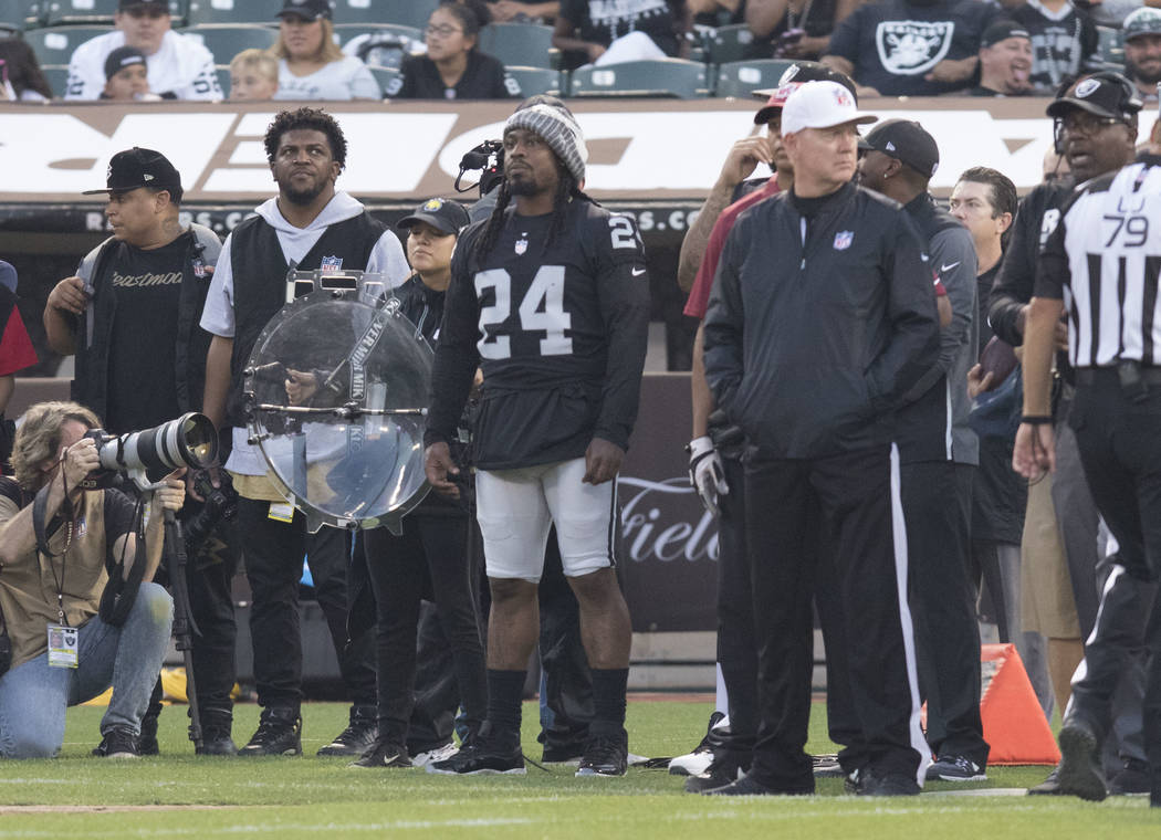 Oakland Raiders running back Marshawn Lynch (24) on the sideline in the first half of a NFL preseason game against the Seattle Seahawks in Oakland, Calif., Thursday, Aug. 31, 2017. Heidi Fang Las  ...
