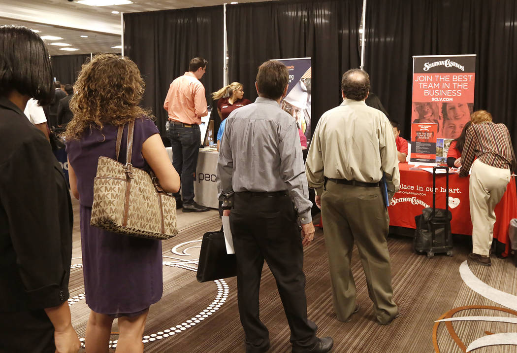 Job seekers lined up to meet with recruiters during a job fair hosted by the Las Vegas Review-Journal at Palace Station on Thursday, Aug. 17, 2017, in Las Vegas. (Bizuayehu Tesfaye/Las Vegas Revie ...