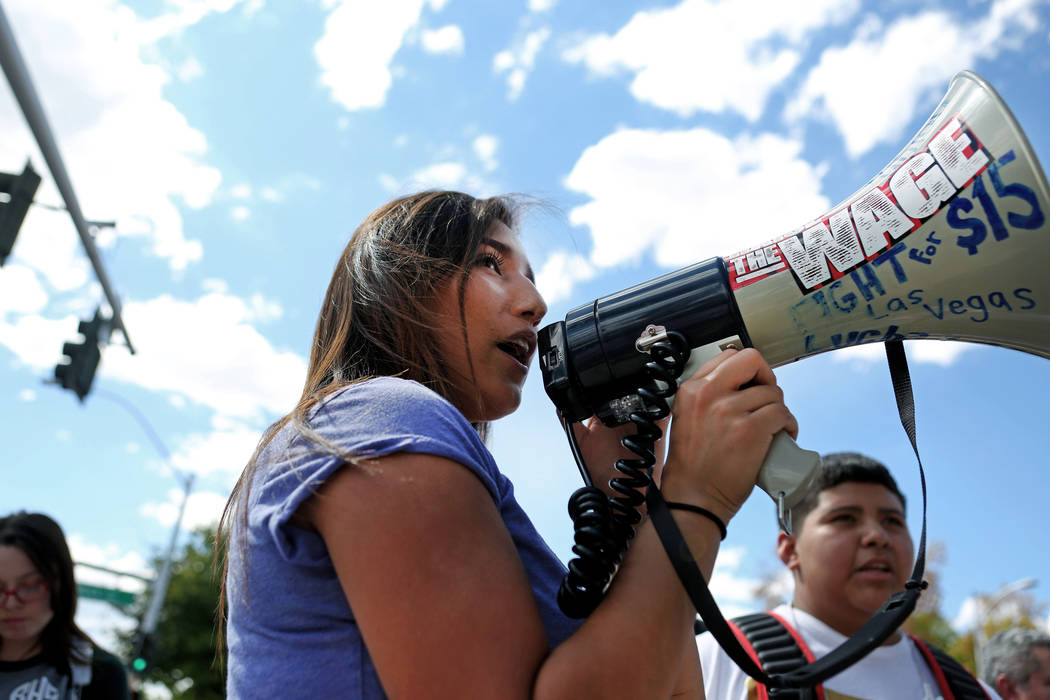 High school student Joanna Conchas, 16, leads her peers and other supporters of DACA in chants during a rally in support of the DREAM Act, at Rancho high school in Las Vegas, Wednesday, Sept. 13,  ...
