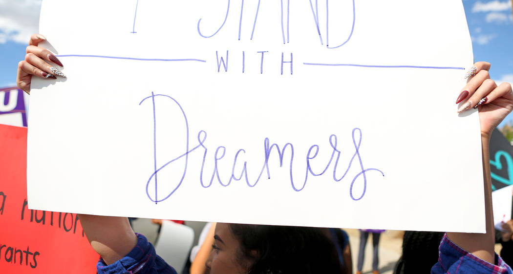 High school students rally in support of the DREAM Act, at Rancho high school in Las Vegas, Wednesday, Sept. 13, 207. Elizabeth Brumley Las Vegas Review-Journal