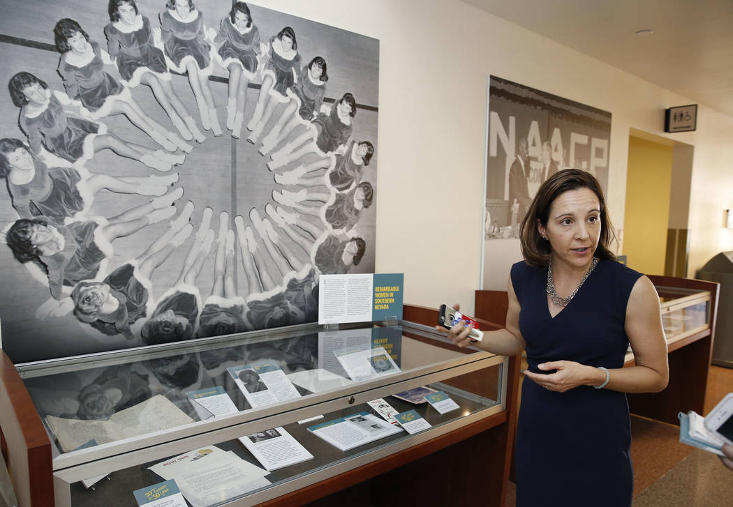 Michelle Light, director of special collections and archives at the UNLV University Libraries, leads a tour of UNLV's special collections and archives at Lied Library on Friday, Sept. 15, 2017, in ...