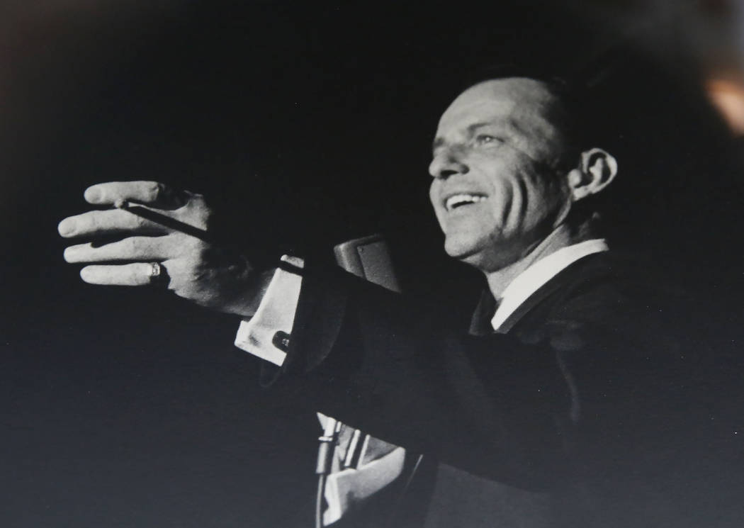 A photograph of Frank Sinatra is displayed during the 50th anniversary of UNLV's special collections and archives at Lied Library on Friday, Sept. 15, 2017, in Las Vegas. Bizuayehu Tesfaye Las Veg ...