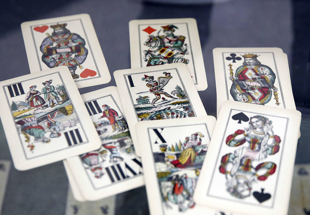 Playing Cards, circa 1900 are displayed during the 50th anniversary of UNLV's special collections and archives at Lied Library on Friday, Sept. 15, 2017, in Las Vegas. Bizuayehu Tesfaye Las Vegas  ...
