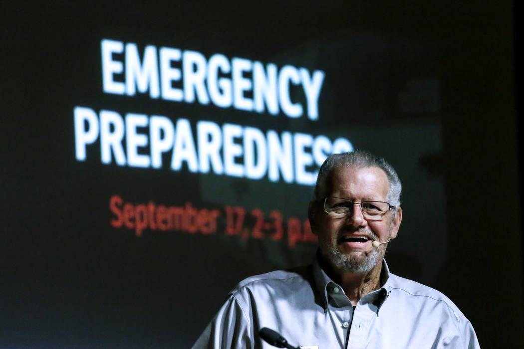 American Red Cross Volunteer Bill Dahlquist speaks during an emergency preparedness safety forum at the Mob Museum in Las Vegas, Sunday, Sept. 17, 2017. Joel Angel Juarez Las Vegas Review-Journal  ...