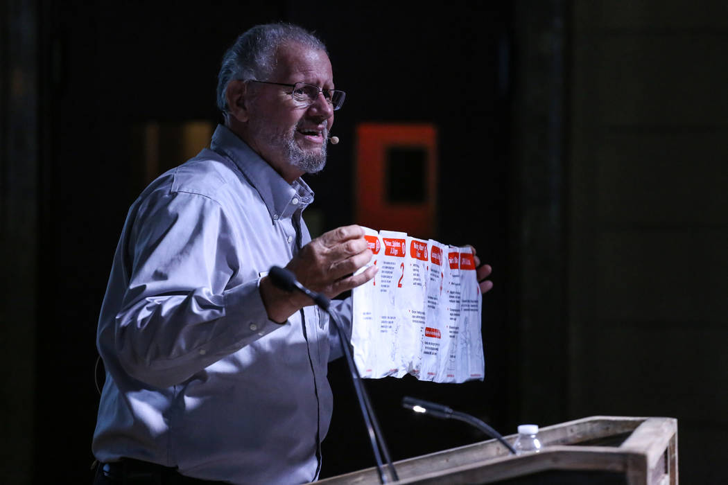 American Red Cross Volunteer Bill Dahlquist holds a medic kit during an emergency preparedness safety forum at the Mob Museum in Las Vegas, Sunday, Sept. 17, 2017. Joel Angel Juarez Las Vegas Revi ...