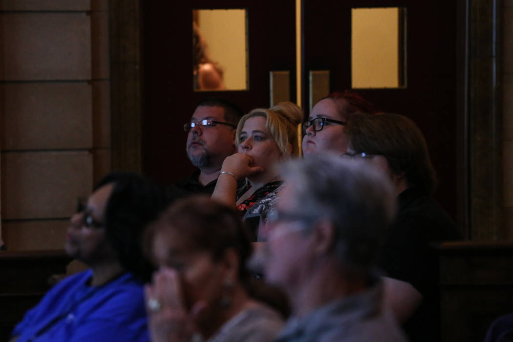 Brandie Valenzuela, second to the top left, listens to a presentation during an emergency preparedness safety forum at the Mob Museum in Las Vegas, Sunday, Sept. 17, 2017. Joel Angel Juarez Las Ve ...