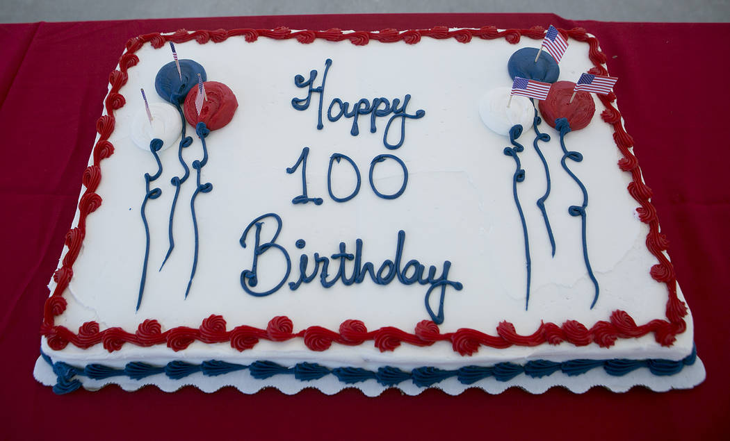 A cake for World War II Navy veteran William Darwin's 100th birthday sits on a table at the VA Medical Center on Tuesday, Sept. 12, 2017. Bridget Bennett Las Vegas Review-Journal @bridgetkbennett