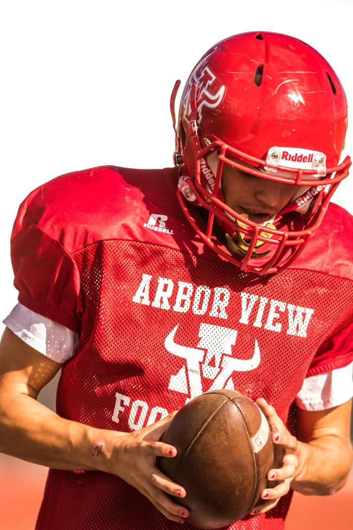Running back Deago Stubbs at practice at Arbor View High School on Wednesday, Sep. 13, 2017, in Las Vegas. Morgan Lieberman Las Vegas Review-Journal
