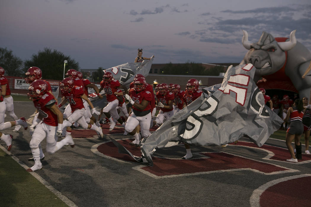 Arbor View football players run on to the field before the start of their game against Faith Lutheran at Arbor View High School on Friday, Sept. 15, 2017, in Las Vegas. Bridget Bennett Las Vegas R ...
