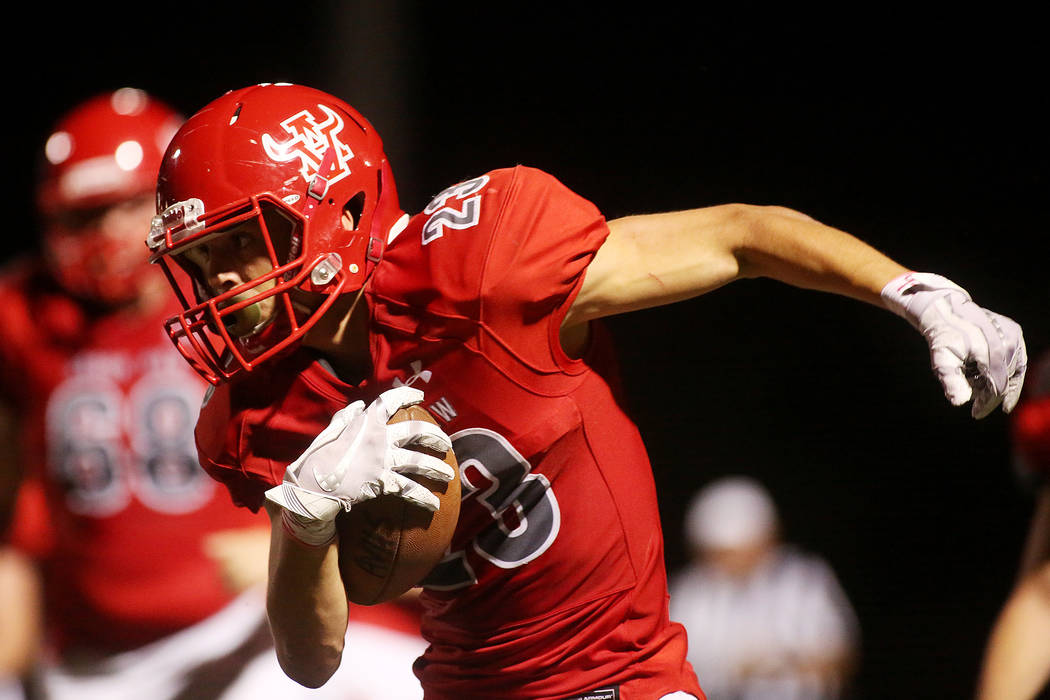 Arbor View player Deago Stubbs runs the ball during the second half of a game against Faith Lutheran at Arbor View High School on Friday, Sept. 15, 2017, in Las Vegas. Arbor View won 27-24.  Bridg ...