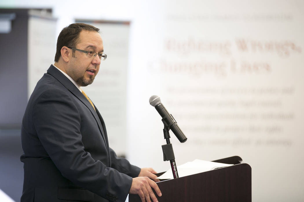 President of board of directors Maximiliano Couvillier III speaks at the Legal Aid Center of Southern Nevada on Wednesday, Sept. 13, 2017. The center unveiled its new Access to Justice Endowment P ...