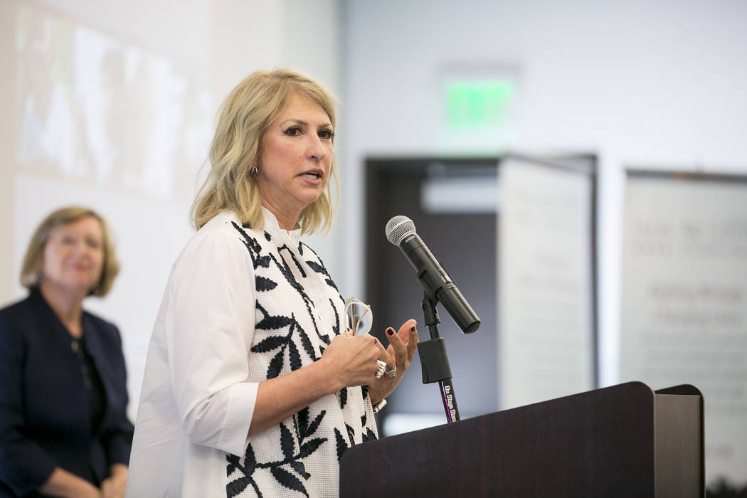 Kris McGarry from the Engelstad Family Foundation speaks at the Legal Aid Center of Southern Nevada on Wednesday, Sept. 13, 2017. The center unveiled its new Access to Justice Endowment Program, a ...
