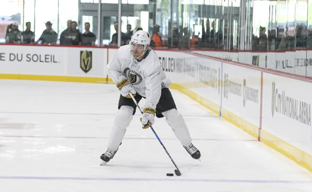 Vegas Golden Knights' Griffin Reinhart controls the puck in a scrimmage during team practice at the City National Arena on Friday, Sept. 15, 2017, in Las Vegas. Richard Brian Las Vegas Review-Jour ...