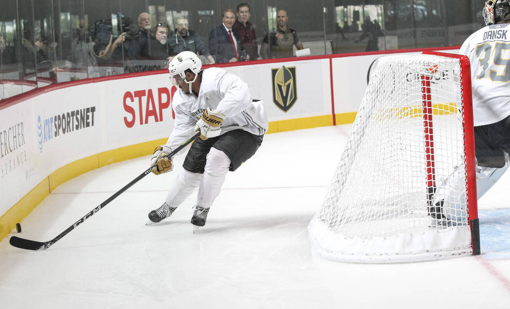 Vegas Golden Knights' Keegan Kolesar gets control of the puck in a scrimmage game during team practice at the City National Arena on Friday, Sept. 15, 2017, in Las Vegas. Richard Brian Las Vegas R ...