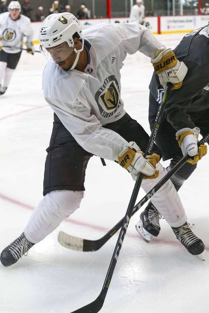 Vegas Golden Knights' Keegan Kolesar is pressured by a defenseman in a scrimmage game during team practice at the City National Arena on Friday, Sept. 15, 2017, in Las Vegas. Richard Brian Las Veg ...