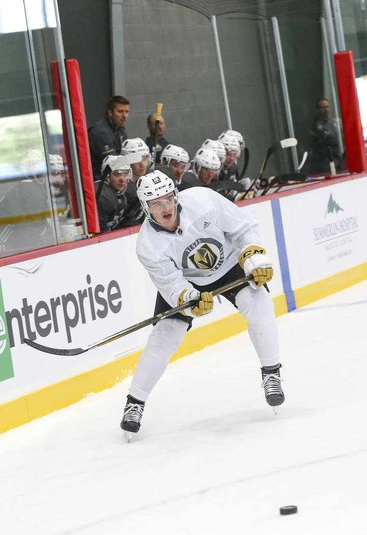 Vegas Golden Knights' Will Warm looks for shot during team practice at the City National Arena on Friday, Sept. 15, 2017, in Las Vegas. Richard Brian Las Vegas Review-Journal @vegasphotograph