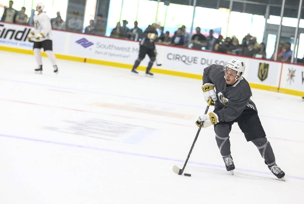 Vegas Golden Knights' Jayden Halbgewachs controls the puck during team practice at the City National Arena on Friday, Sept. 15, 2017, in Las Vegas. Richard Brian Las Vegas Review-Journal @vegaspho ...