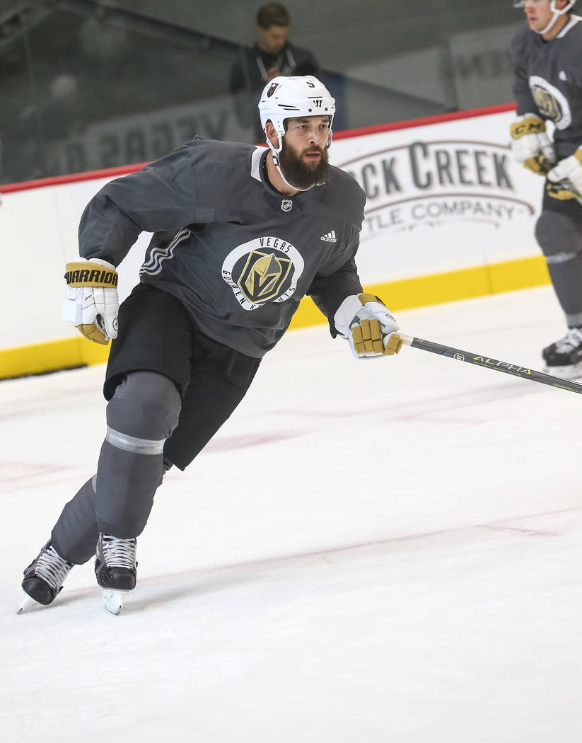Vegas Golden Knights' Deryk Engelland on the ice during team practice at the City National Arena on Friday, Sept. 15, 2017, in Las Vegas. Richard Brian Las Vegas Review-Journal @vegasphotograph